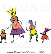 Vector Clipart of a Childs Sketch of Four Happy Playing Kids by Prawny