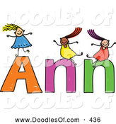 Vector Clipart of a Childs Sketch of Friendly Girls Playing on the Name Ann by Prawny
