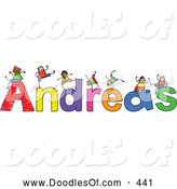 Vector Clipart of a Childs Sketch of Grinning Boys Playing on the Name Andreas by Prawny