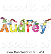 Vector Clipart of a Childs Sketch of Grinning Girls Playing on the Name Audrey by Prawny