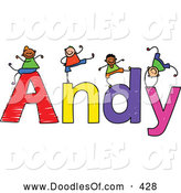 Vector Clipart of a Childs Sketch of Happy and Smiling Boys Playing on the Name Andy by Prawny