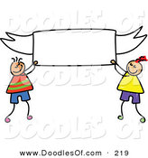 Vector Clipart of a Childs Sketch of Happy Boys Holding a Blank Banner by Prawny