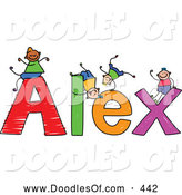Vector Clipart of a Childs Sketch of Happy Boys Playing on the Name Alex by Prawny