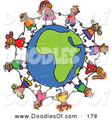 Vector Clipart of a Childs Sketch of Happy Children Holding Hands Around an African Globe by Prawny