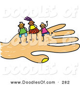 Vector Clipart of a Childs Sketch of Happy Girl and Boys on a Hand by Prawny