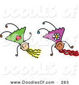 Vector Clipart of a Childs Sketch of Happy Girls Doing Hand Stands by Prawny