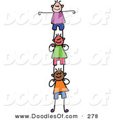 Vector Clipart of a Childs Sketch of Happy Girls Supporting Each Other by Prawny