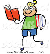 Vector Clipart of a Childs Sketch of Happy Smart Boy Walking and Reading by Prawny
