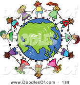 Vector Clipart of a Childs Sketch of Kids Holding Hands Around an Asian Globe by Prawny