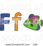 Vector Clipart of a Childs Sketch of Letter F Is for Fish by Prawny