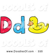 Vector Clipart of a Childs Sketch of Lowercase and Capital Ds with a Duck by Prawny