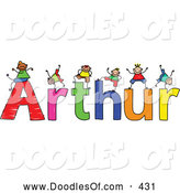 Vector Clipart of a Childs Sketch of Smiling Boys Playing on the Name Arthur by Prawny