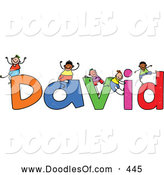 Vector Clipart of a Childs Sketch of Smiling Boys Playing on the Name David by Prawny
