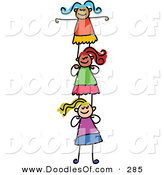 Vector Clipart of a Childs Sketch of Smiling Girls Supporting Each Other by Prawny