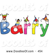 Vector Clipart of a Childs Sketch of Stick Figure Boys Playing on the Name Barry by Prawny