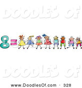 Vector Clipart of a Childs Sketch of the Number 8 Equals Eight Children on White by Prawny