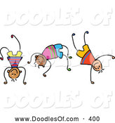 Vector Clipart of a Childs Sketch of Three Boys Playing Wildly by Prawny