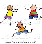 Vector Clipart of a Childs Sketch of Three Smiling Boys by Prawny