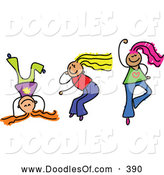 Vector Clipart of a Childs Sketch of Three Smiling Girls Playing Together by Prawny