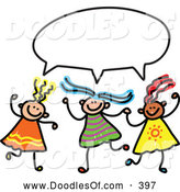 Vector Clipart of a Childs Sketch of Three Smiling Girls with a Word Balloon by Prawny