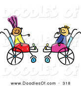 Vector Clipart of a Childs Sketch of Two Happy Kids in Wheelchairs by Prawny