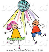 Vector Clipart of a Childs Sketch of Two Kids Dancing Under a Disco Ball by Prawny