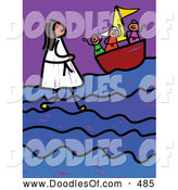 Vector Clipart of a Child's Stick Figure Sketch of Jesus Walking on Water by Prawny