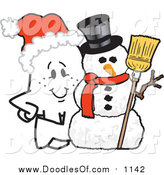Vector Clipart of a Christmas Doodle Squiggle Guy by a Snowman by Toons4Biz