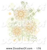 Vector Clipart of a Cluster of Orange Flowers with Orange and Beige Spots by BNP Design Studio