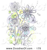 Vector Clipart of a Cluster of Purple Flowers with Green and Yellow Spots by BNP Design Studio