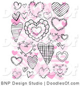 Vector Clipart of a Collage of Black Doodle Hearts over Pink Hearts on White by BNP Design Studio