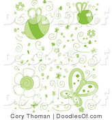 Vector Clipart of a Collage of Green Doodled Bugs and Insects by Cory Thoman