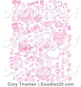 Vector Clipart of a Collage of Pink Love Doodle Icons by Cory Thoman