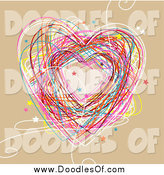 Vector Clipart of a Colorful Heart Doodle on Tan by NL Shop