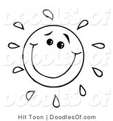 Vector Clipart of a Coloring Page of a Happy Doodled Sun with a Smile by Hit Toon