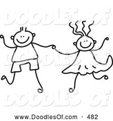 Vector Clipart of a Cute Black and White Boy and Girl Holding Hands by Prawny