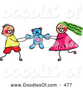 Vector Clipart of a Cute Boy and Girl Fighting over a Teddy Bear by Prawny