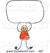 Vector Clipart of a Cute Boy Holding up a Blank Sign by Prawny