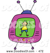 Vector Clipart of a Cute Boy on a Tv Screen by Prawny