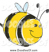 Vector Clipart of a Cute Doodled Bee by Yayayoyo