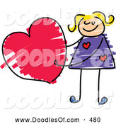 Vector Clipart of a Cute Girl Holding a Heart by Prawny