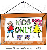 Vector Clipart of a Cute Kids Only Sign by Prawny
