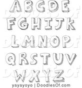 Vector Clipart of a Digital Collage of a Sketched Alphabet by Yayayoyo