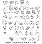 Vector Clipart of a Digital Collage of Black and White Coloring Page Doodled Icons by Yayayoyo