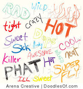 Vector Clipart of a Digital Collage of Colorful Sketched Slang Words on White by Arena Creative