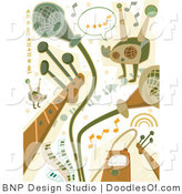 Vector Clipart of a Digital Collage of Green and Brown Music Industry Doodles by BNP Design Studio