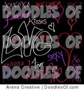 Vector Clipart of a Digital Collage of Neon Love Words and Doodles on Black by Arena Creative