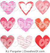 Vector Clipart of a Digital Collage of Nine Valentine Scribble Hearts in Pink and Red by KJ Pargeter