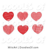 Vector Clipart of a Digital Collage of Six Doodled Valentine Red Hearts by MilsiArt