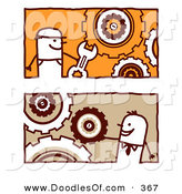 Vector Clipart of a Digital Collage of Stick Business Men with Interlocking Gear Cogs by NL Shop
